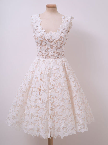 Cute Ivory Lace Short Prom Dresses White Homecoming Dresses, Lace Graduation Dresses, Evening Dresses 2019