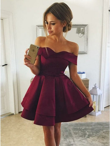 Cute Off Shoulder Layered Burgundy Short Prom Dresses, Layered Burgundy Homecoming Dresses