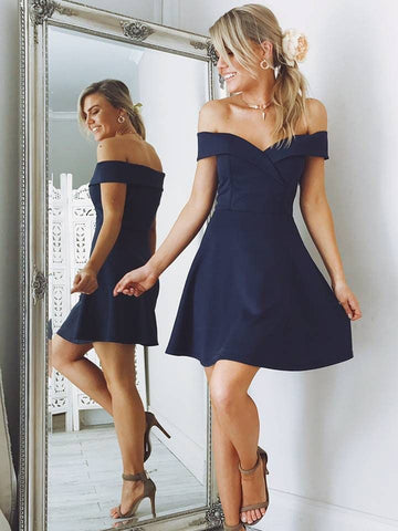 Cute Off Shoulder Navy Blue/Pink Short Prom Dresses, Off Shoulder Navy Blue/Pink Homecoming Dresses, Formal Dresses, Evening Dresses