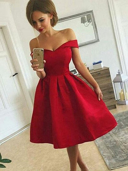 Cute Off Shoulder Red Satin Short Prom Dresses, Off Shoulder Red Homecoming Dresses, Red Graduation Dresses, Formal Dresses