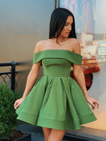 Cute Off Shoulder Short Green Prom Dresses Homecoming Dresses, Short Green Formal Dresses, Off the Shoulder Green Evening Dresses, Graduation Dresses