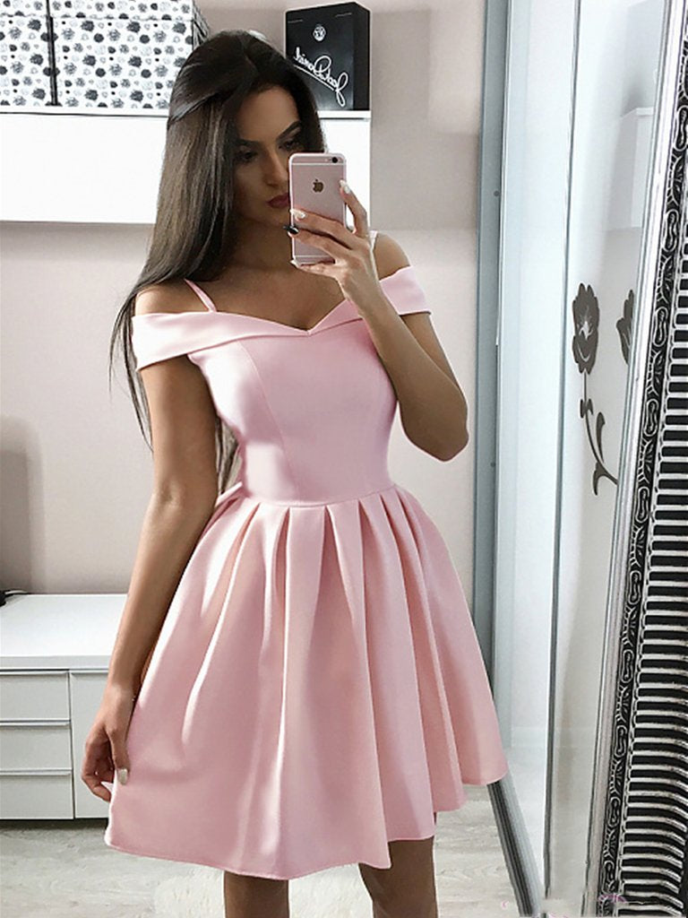 13038f8f661a Cute Off The Shoulder Pink Homecoming Dresses Short Prom Dresses ...