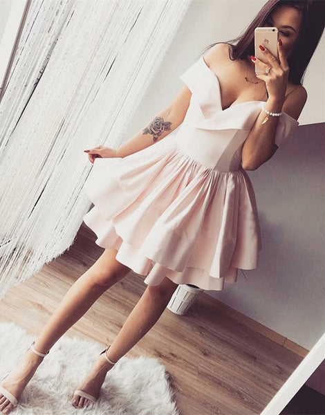 Cute Off the Shoulder Layered Pink Homecoming Dresses Short Prom Dresses, Off Shoulder Pink Formal Dresses, Evening Dresses