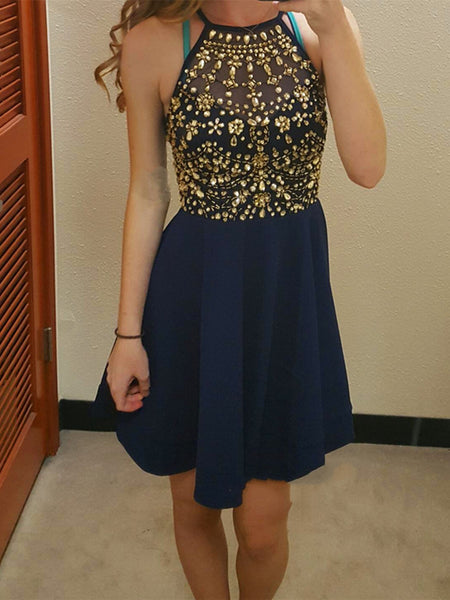 Cute Round Neck Rhinestones Dark Blue Short Prom Dresses, Dark Blue Homecoming Dresses, Formal Dresses
