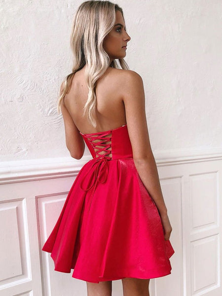 Cute Strapless Backless Red Homecoming Dresses Short Prom Dresses, Backless Red Formal Dresses, Red Evening Dresses, Graduation Dresses