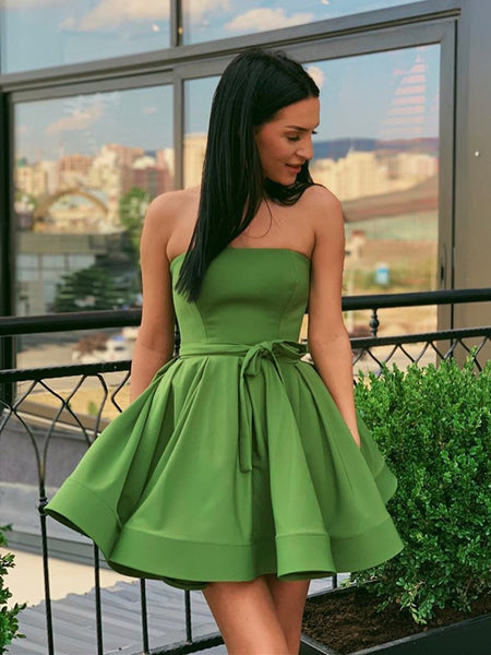 Cute Strapless Green Short Prom Dresses Homecoming Dresses, Strapless Green Formal Graduation Evening Dresses