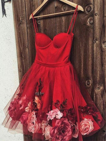 Cute Sweetheart Neck Burgundy Prom Dresses with Flowers, Burgundy Homecoming Dresses