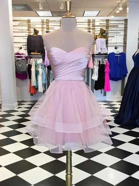 Cute Sweetheart Neck Pink Prom Dresses, Short Prom Dresses, Pink Homecoming Dresses