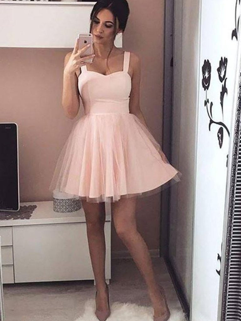 Cute Sweetheart Neck Short Pink/Black Prom Dress with Straps, Short Pink/Black Graduation Dress, Homecoming Dresses