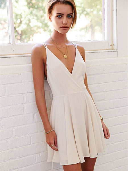 Cute V Neck Ivory Short Prom Dresses, Ivory Homecoming Dresses, Formal Dresses