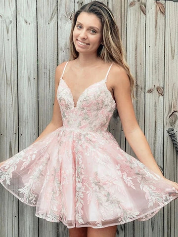 Cute V Neck Lace Appliques Pink Short Prom Dresses Homecoming Dresses, Lace Pink Formal Graduation Evening Dresses