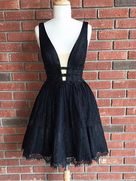 Cute V Neck Lace Black Short Prom Dresses, Black Homecoming Dresses