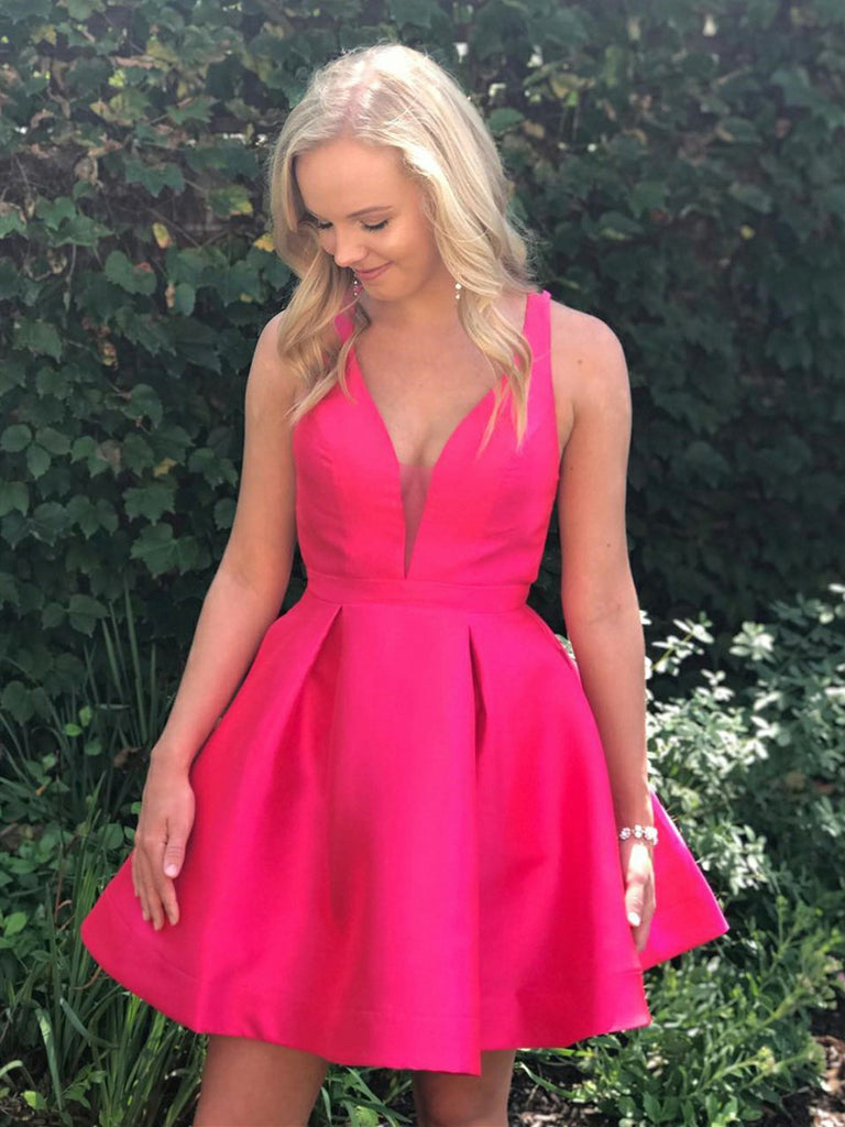 Cute V Neck Open Back Fuchsia Short Prom Dresses Homecoming Dresses, Fuchsia Short Formal Dresses, Fuchsia Graduation Evening Dresses