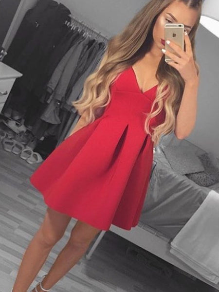 Cute V Neck Red Prom Dresses, Red Homecoming Dresses