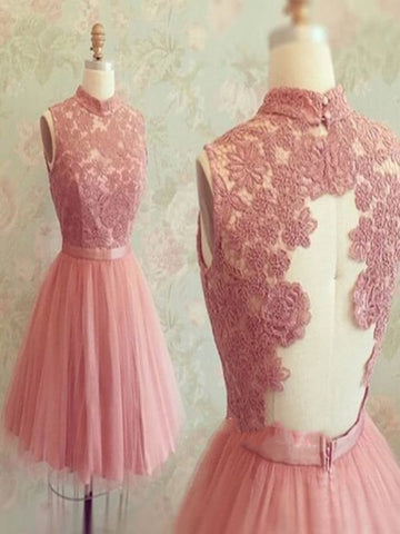 A Line High Neck Short Lace Prom Dresses, Short Lace Graduation/ Homecoming/Bridesmaid Dress
