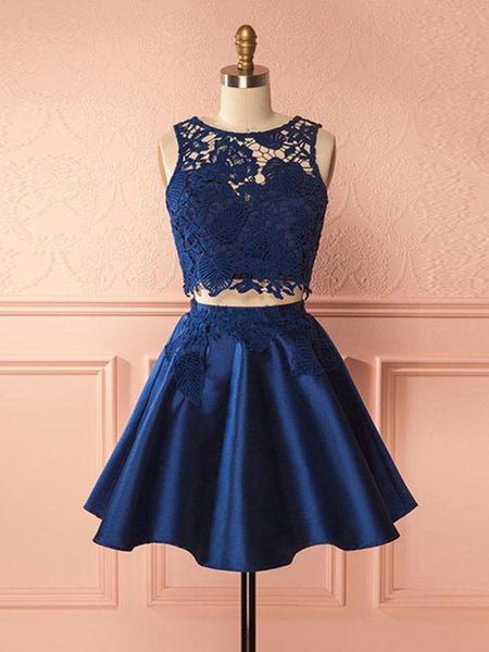 Dark Blue Round Neck Two Pieces Lace Prom Dresses, Dark Blue Lace Homecoming Dresses