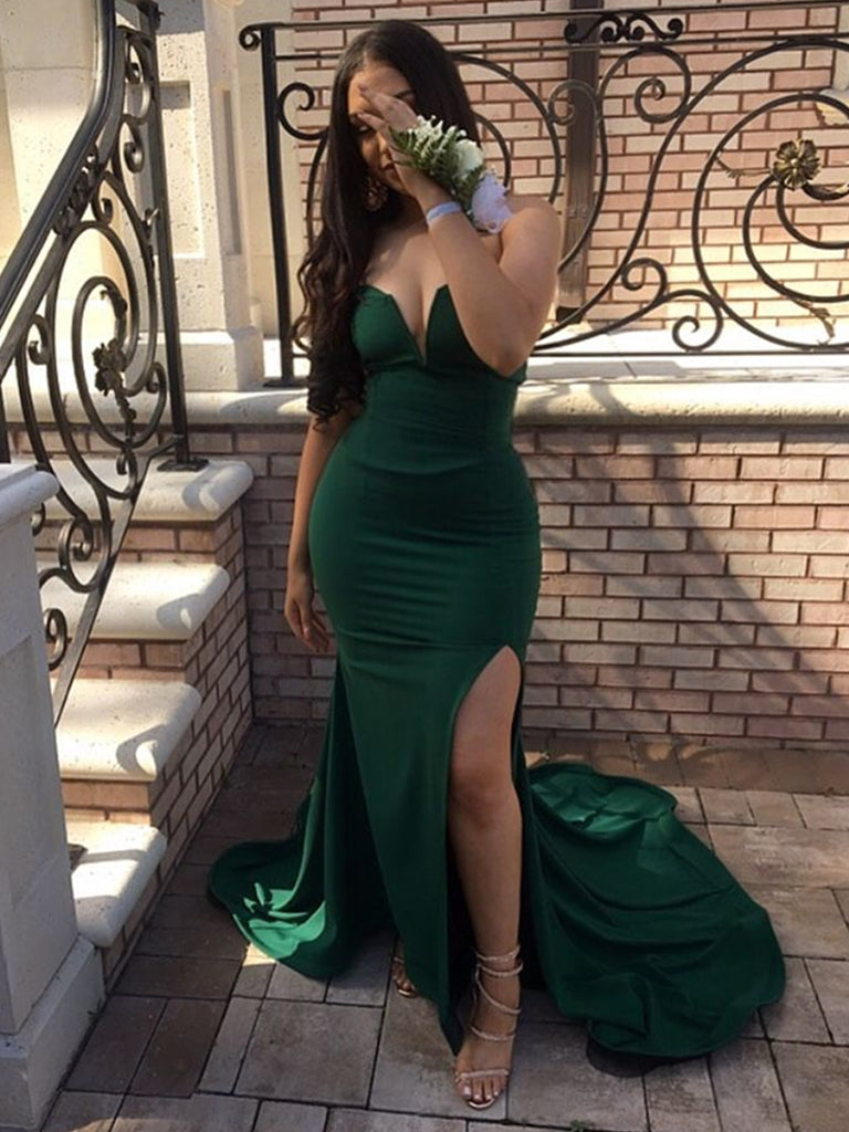 Dark Green Strapless Mermaid Split Long Prom Dresses with Sweep Train, Mermaid Dark Green Formal Dresses, Evening Dresses