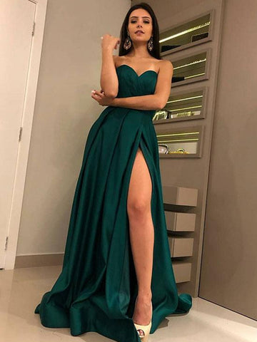 f30883f3e80 Dark Green Sweetheart Neck Satin Long Prom Dresses with High Slit