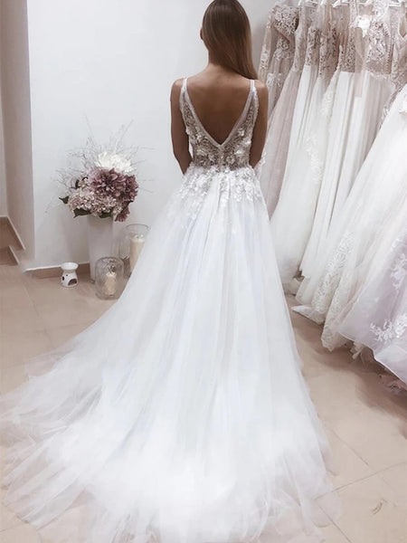Deep V Neck Backless White Lace Appliques Long Prom Dresses, White lace Wedding Dresses, White Formal Evening Dresses