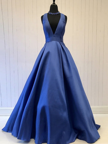 Deep V Neck Blue Satin Long Prom Dresses, Blue Formal Graduation Evening Dresses, Party Dresses