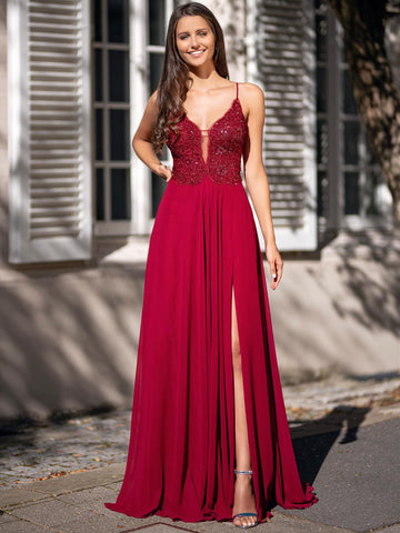 Deep V Neck Burgundy Lace Long Prom Dresses with Slit, Burgundy Lace Formal Graduation Evening Dresses