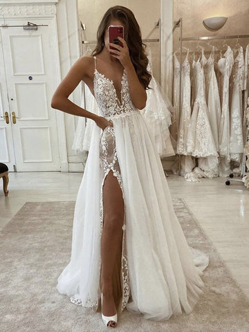 Deep V Neck Ivory Lace Long Wedding Dresses, White Lace Formal Evening Prom Dresses with High Split