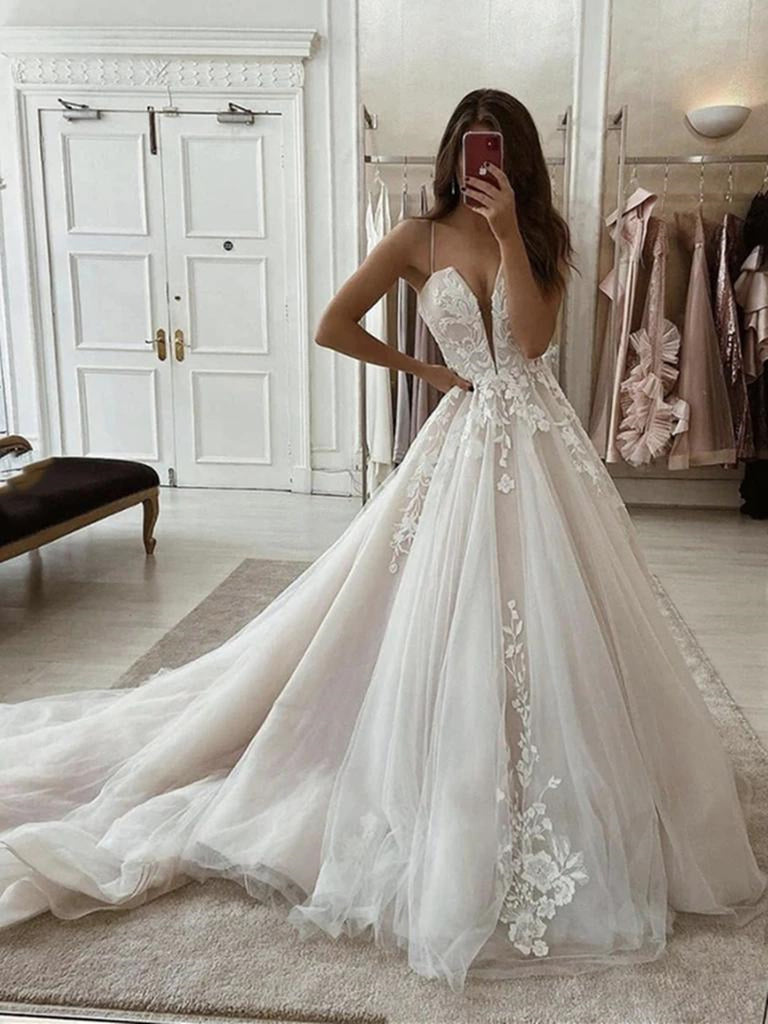 Deep V Neck Ivory Lace Prom Dresses with Sweep Train, Ivory Lace Formal Evening Wedding Dresses