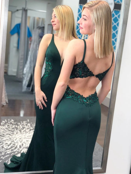 Deep V Neck Mermaid Emerald Green Lace Long Prom Dresses, Backless Emerald Green Formal Graduation Evening Dresses
