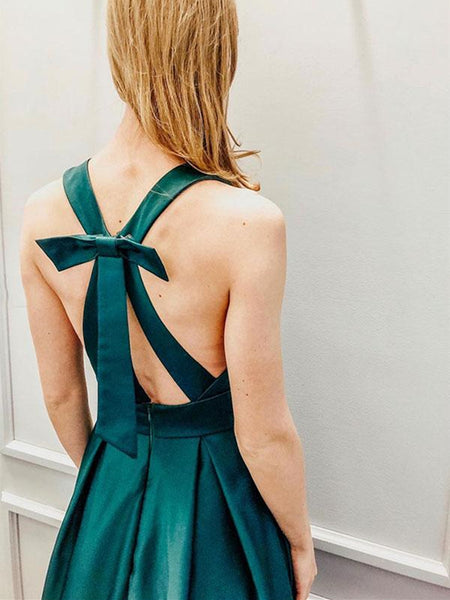 Deep V Neck Open Back Green Satin Long Prom Dresses, Long V Neck Green Formal Graduation Evening Dresses