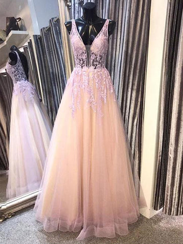 Deep V Neck Open Back Pink Lace Long Prom Dresses, Backless Pink Lace Formal Dresses, Lace Pink Evening Dresses