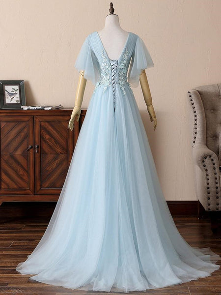 Deep V Neck Open Back Short Sleeves Floral Lace Light Blue Long Prom Dresses, Short Sleeves Light Blue Formal Evening Dresses
