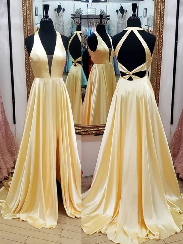 Deep V Neck Open Back Yellow Long Prom Dresses with Leg Slit, Yellow Formal Graduation Evening Dresses