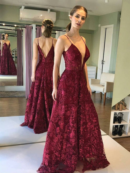 Deep V Neck and V Back Burgundy Lace Long Prom Dresses, Open Back Maroon Lace Formal Dresses, Burgundy Evening Dresses