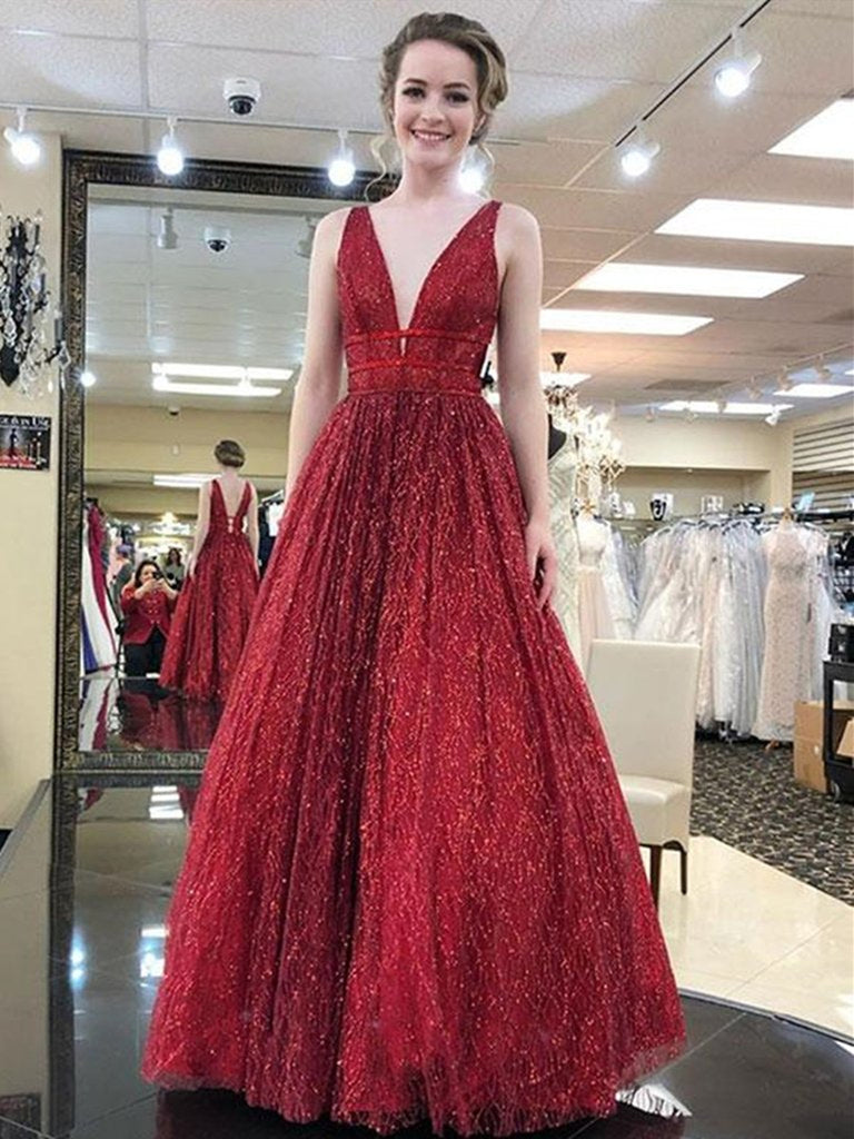 a043c32b045 ... Deep V Neck And V Back Sparkly Champagne Burgundy Long Prom Dresses  with Sequins