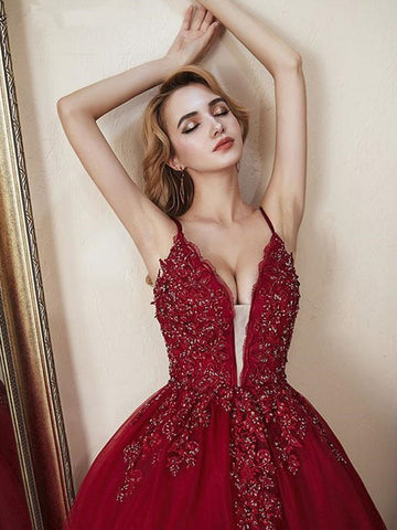 Deep V Neck Backless Lace Burgundy Prom Gown, Burgundy Lace Prom Dresses, Lace Burgundy Evening Formal Dresses