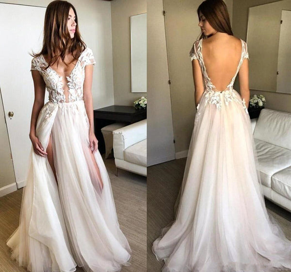Deep V Neck Cap Sleeves Backless Tulle Lace Wedding Dresses with Appliques, Lace Prom Dresses, Formal Dresses