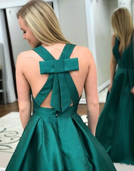 Deep V Neck Dark Green Prom Dresses With Pockets, Dark Green Formal Dresses
