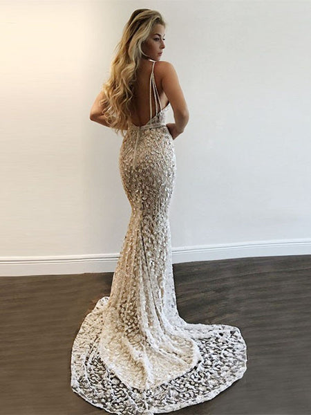 Deep V Neck Spaghetti Straps Mermaid Backless Lace Silver Prom Dresses with Sequins, Silver Formal Dresses with Train, Evening Dresses