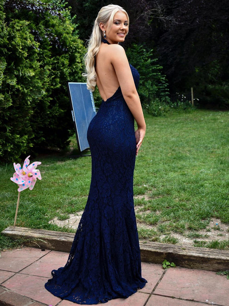 Elegant Halter Neck Backless Mermaid Blue Lace Long Prom Dresses, Mermaid Blue Lace Formal Graduation Evening Dresses