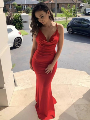 Elegant Mermaid V Neck Red Satin Long Prom Dresses, Mermaid Red Formal Dresses, Red Evening Dresses