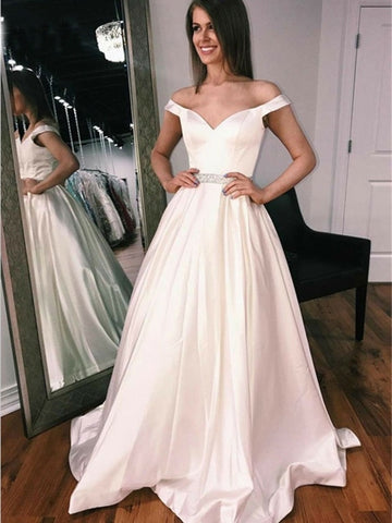 Elegant Off Shoulder Ivory Long Prom Dresses, Off Shoulder Ivory Formal Graduation Evening Dresses