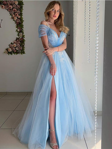 Elegant Off Shoulder Light Blue Tulle Long Prom Dresses, Off the Shoulder Light Blue Formal Evening Dresses