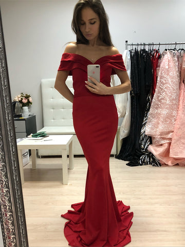 Elegant Off Shoulder Mermaid Long Red Prom Dresses, Off Shoulder Mermaid Red Formal Graduation Evening Dresses