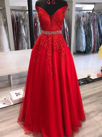 Elegant Off Shoulder Red Lace Long Prom Dresses with Belt, Off Shoulder Red Formal Dresses, Red Lace Evening Dresses