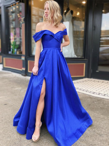Elegant Off Shoulder Royal Blue Long Prom Dresses with Slit, Off Shoulder Royal Blue Formal Dresses, Royal Blue Evening Dresses