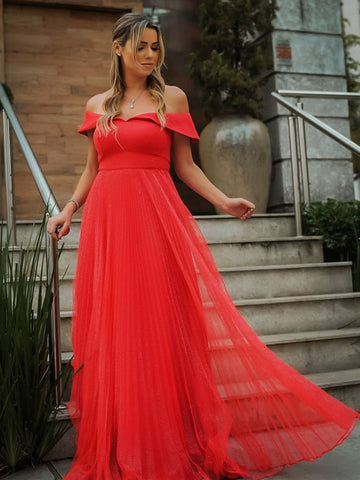 Elegant Off the Shoulder Red Long Prom Dresses, Long Off Shoulder Red Formal Evening Dress