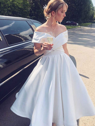 Elegant Off the Shoulder Tea Length White Satin Prom Dresses, Off Shoulder White Formal Graduation Homecoming Dresses