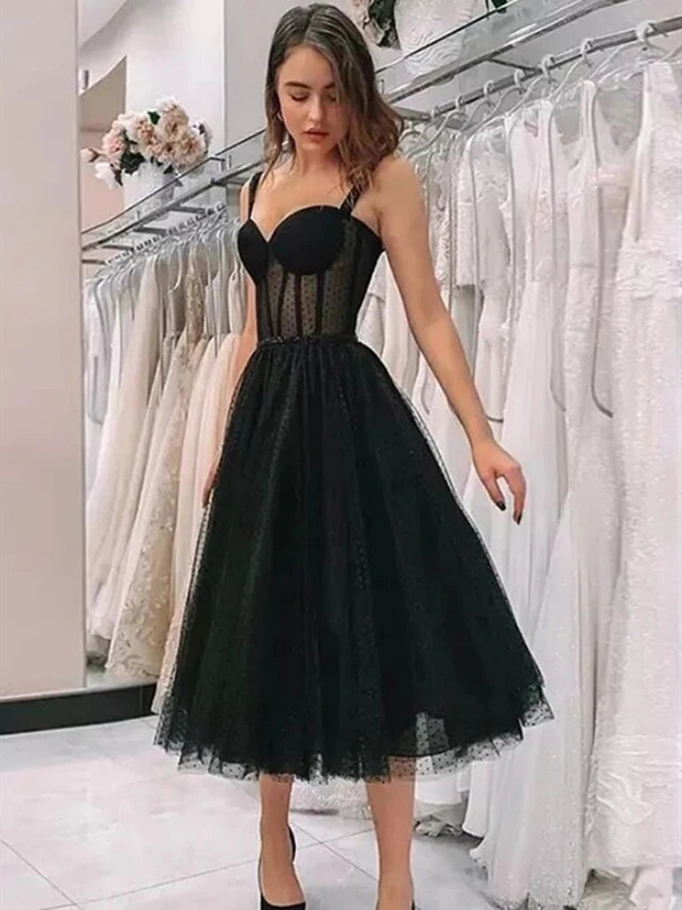 Elegant Sweetheart Neck Tea Length Black Prom Dresses, Sweetheart Neck Black Formal Graduation Homecoming Dresses
