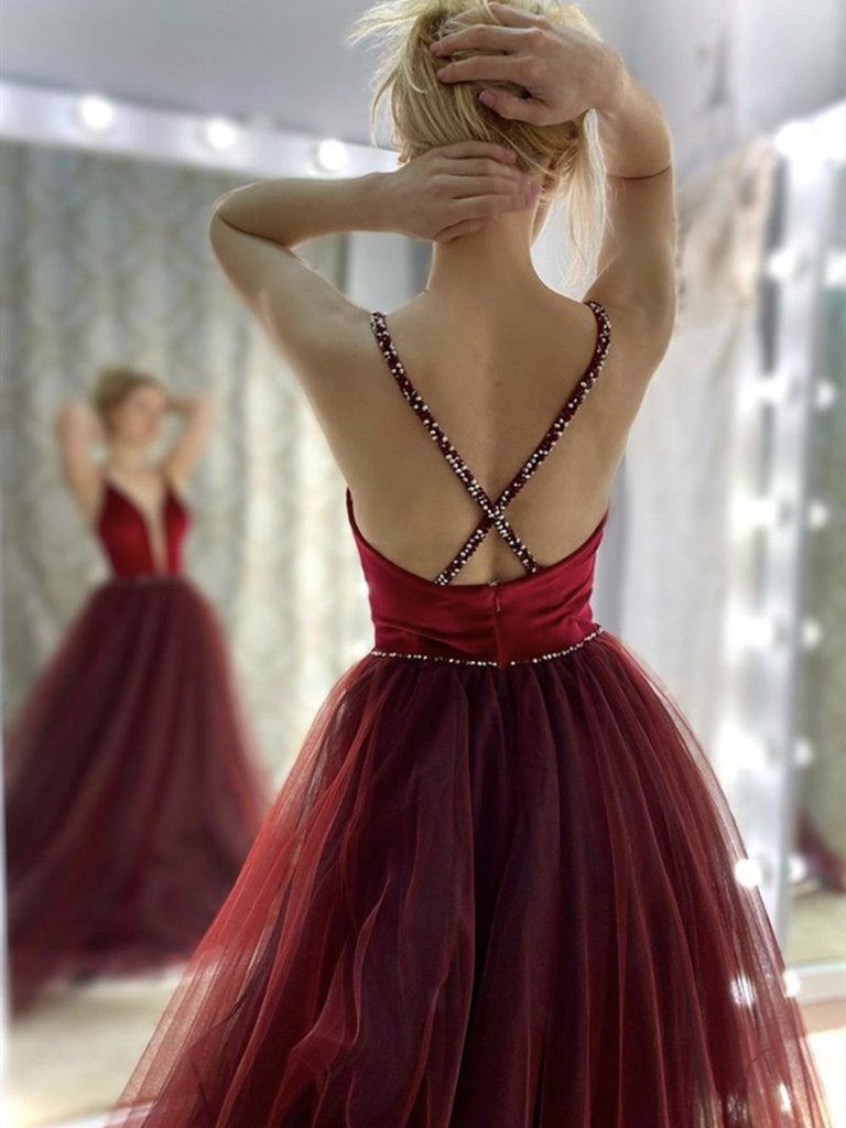 Elegant V Neck Backless Burgundy Long Prom Dresses, V Neck Wine Red Formal Graduation Evening Dresses