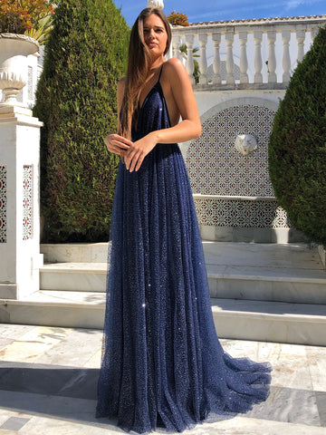 Elegant V Neck Backless Navy Blue Long Prom Dresses, Sparkly Navy Blue Formal Evening Dresses